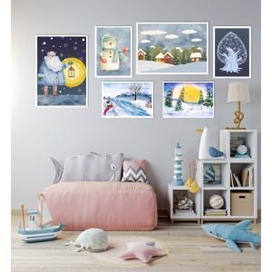 *Set 6 Postere fotografii - Iarna în acuarelă