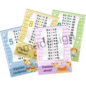 Set 10 Planșe Tabla înmulțirii + Regulile clasei